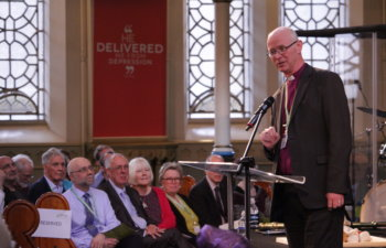 Bishop James Langstaff, Bishop of Rochester and Bishop to HM Prisons speaks at the 40th Anniversary celebration of Prison Fellowship in March 2019.