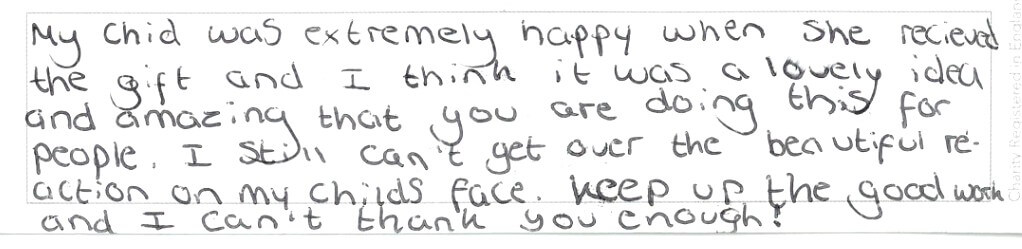 Feedback from recipient of an Angel Tree gift